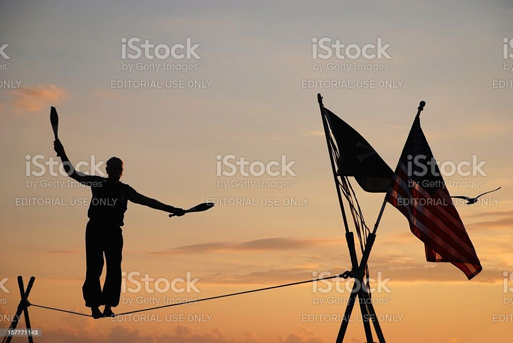 Juggling at sunset stock photo