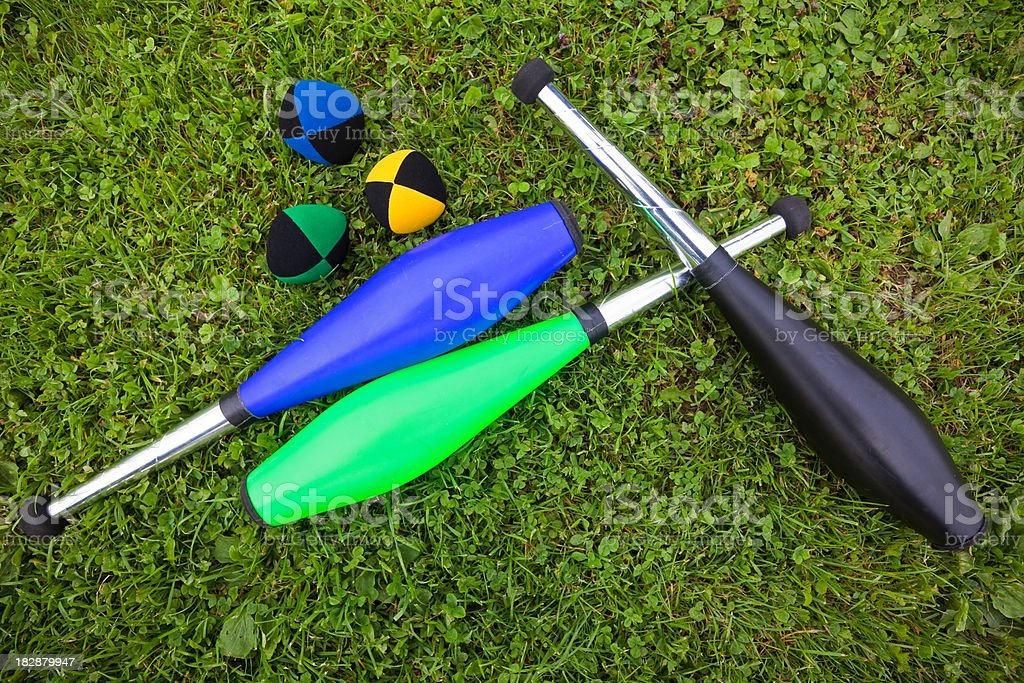 Juggling Clubs And Balls royalty-free stock photo