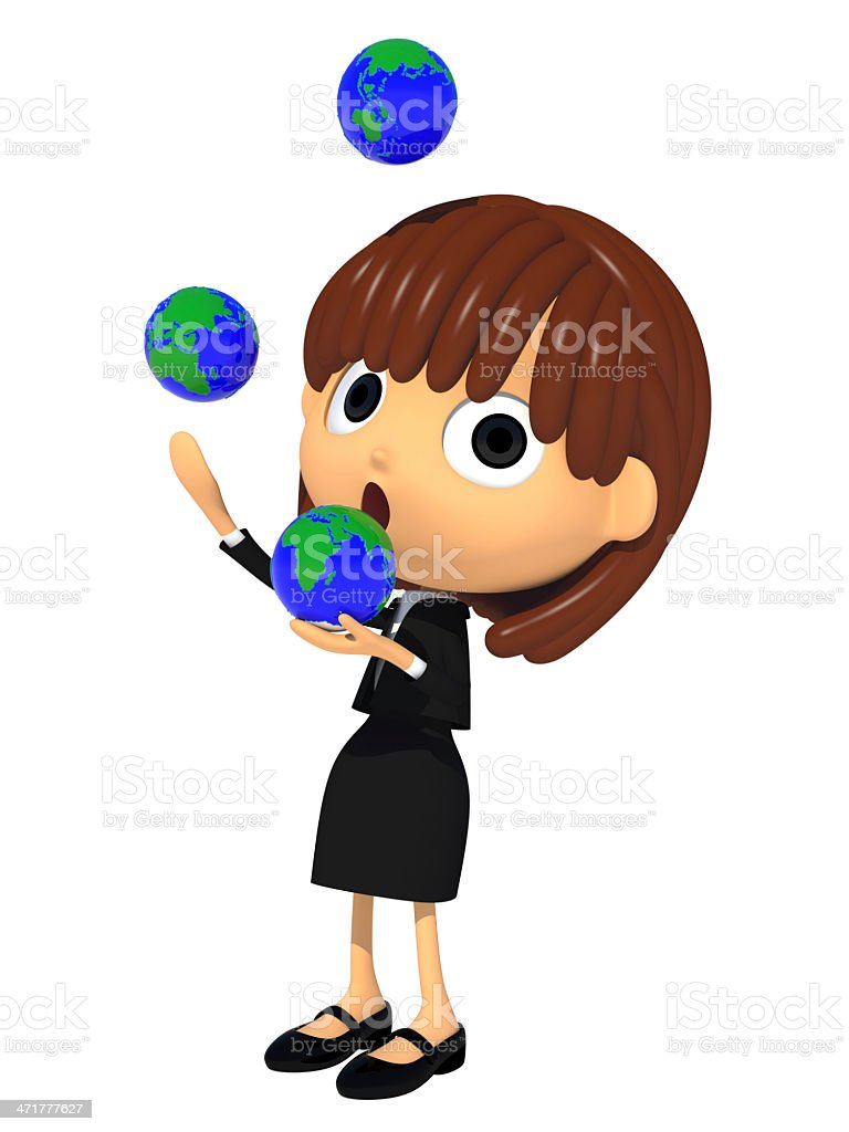 Juggling the globe royalty-free stock photo