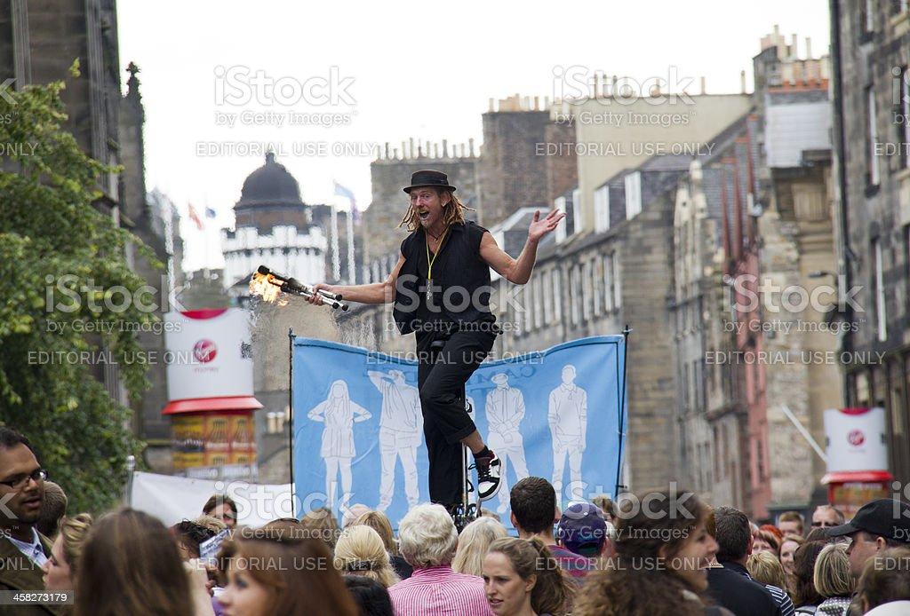 Juggling Torches at Edinburgh Festival Fringe royalty-free stock photo