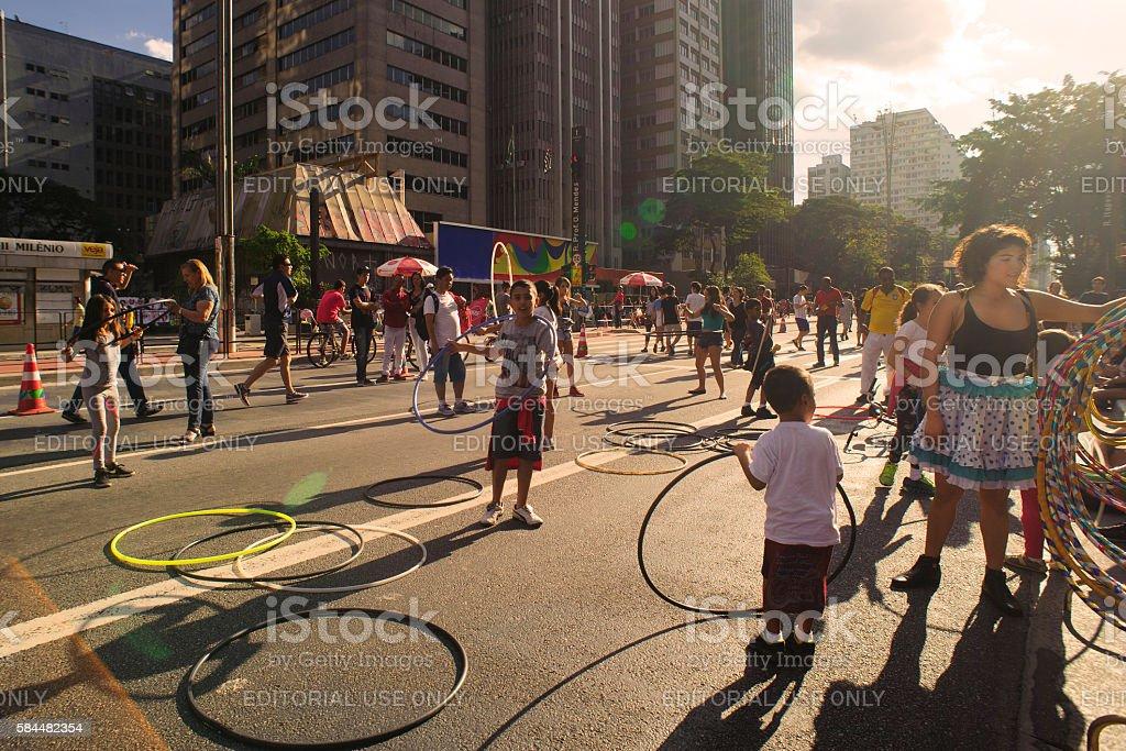 Juggling with hula hoop stock photo