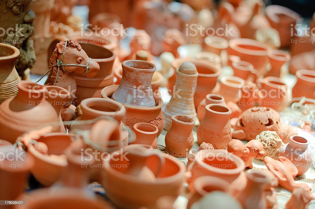 jugs and different souvenirs from clay royalty-free stock photo