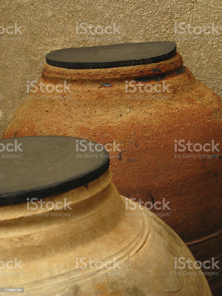 Jugs Clay Water Close Up royalty-free stock photo