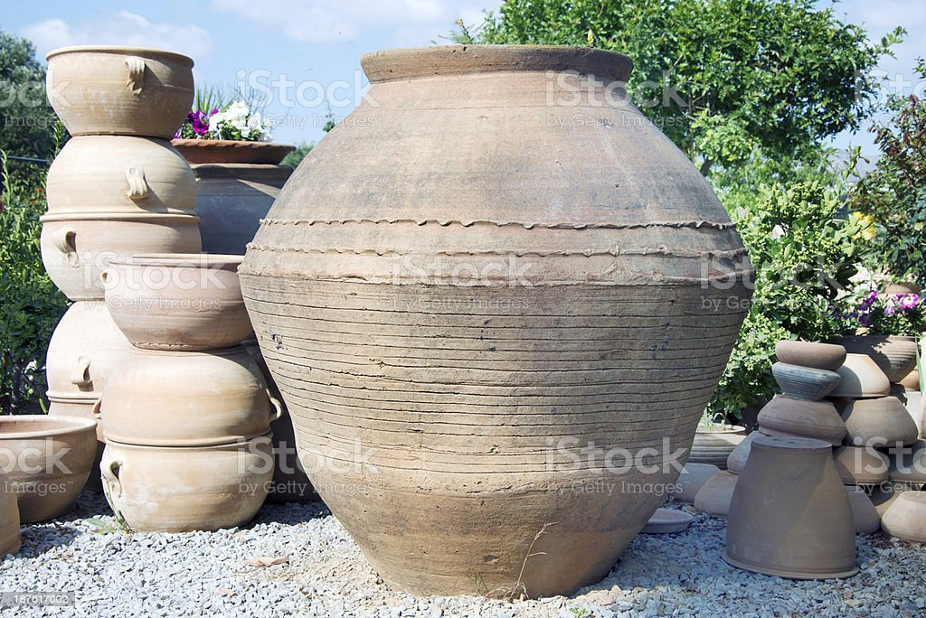 Jugs in a potter's workshop royalty-free stock photo