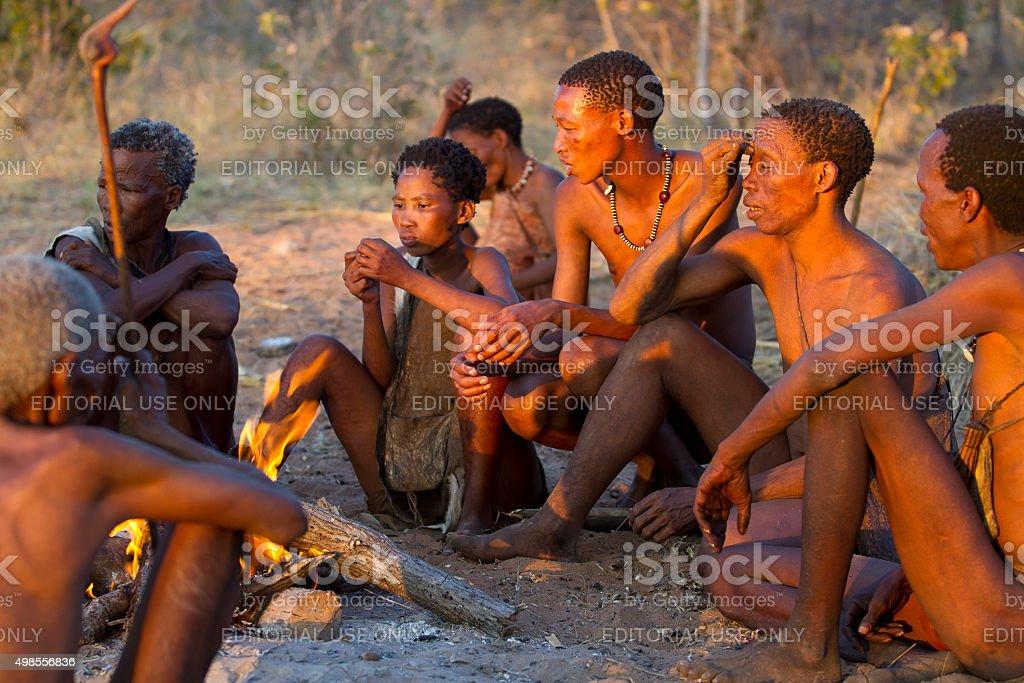 Ju/'Hoansi or San bushmen reunion at their village, Namibia stock photo