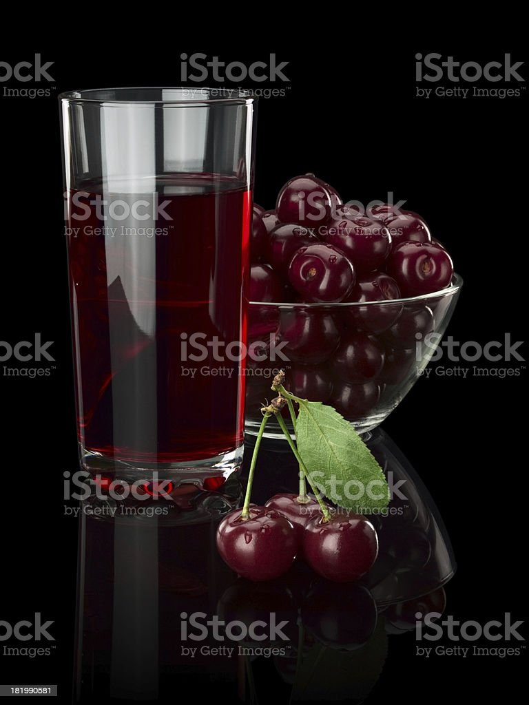 Juice and cherry berries royalty-free stock photo