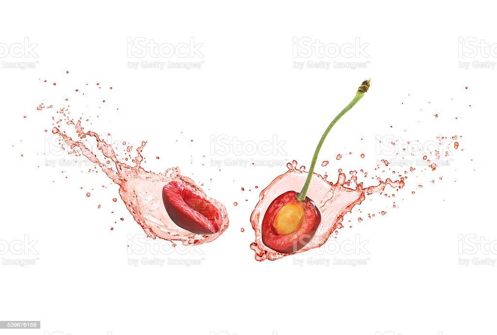 juice and cherry stock photo