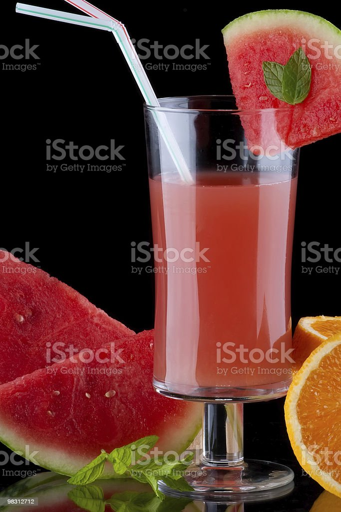 Juice and fresh fruits - organic, health drinks series stock photo
