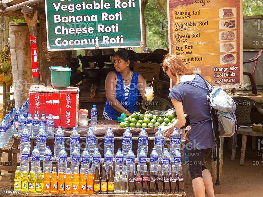 Juice bar at  Moonstone site in  Anuradhapura, Sri Lanka stock photo