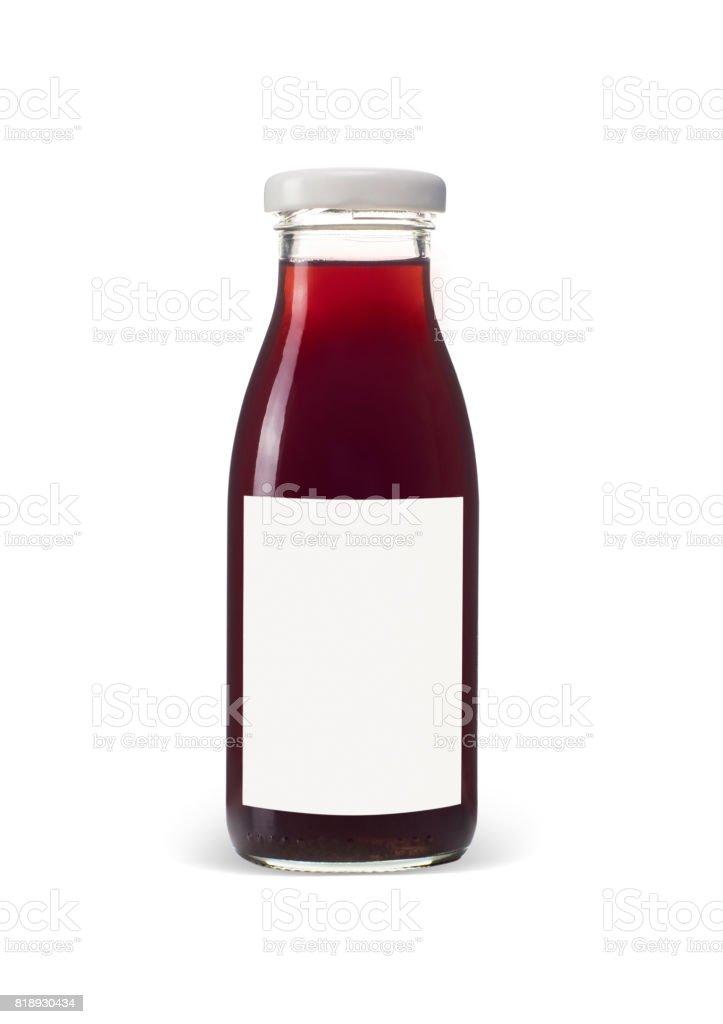 Juice bottle isolated on white background stock photo