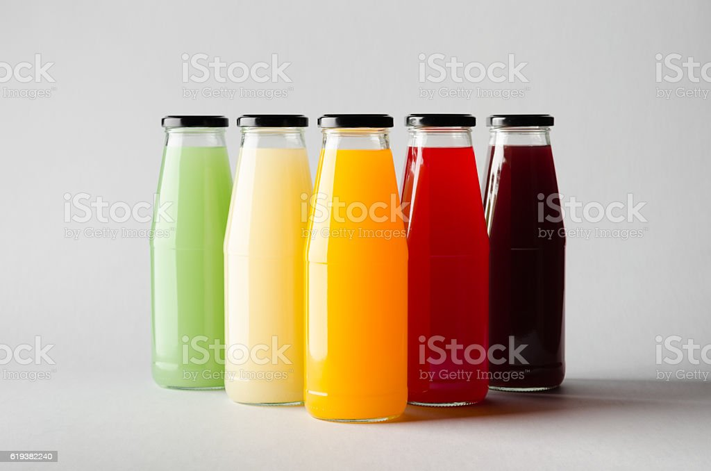 Juice Bottle Mock-Up - Multiple Bottles stock photo