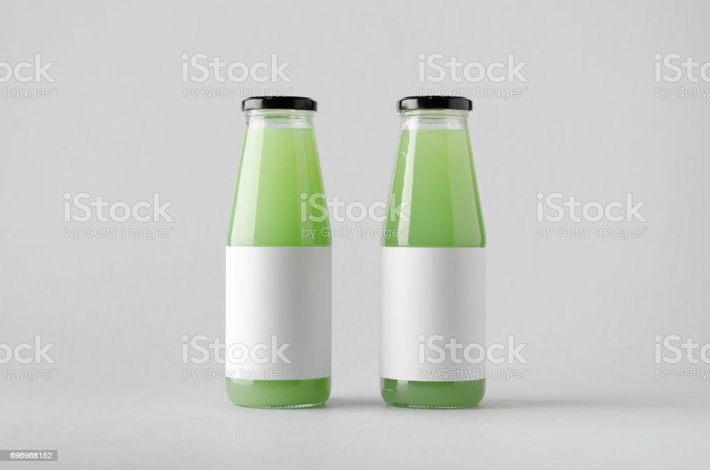 Juice Bottle Mock-Up - Two Bottles. Blank Label
