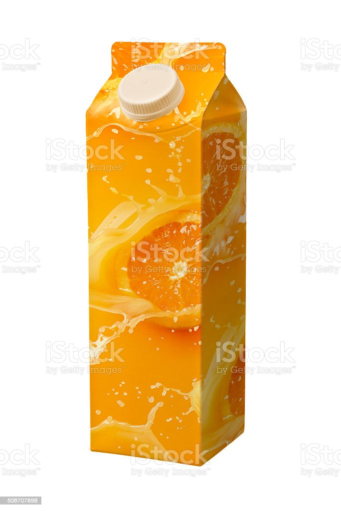 juice carton box isolated on white stock photo