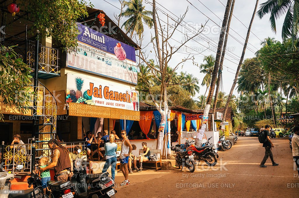 Juice Centre in Chapora. Famous places of Goa. стоковое фото