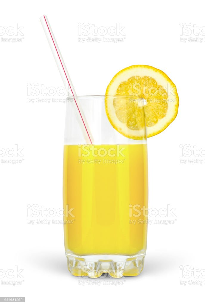 juice in glass with straw and lime isolated on white background stock photo