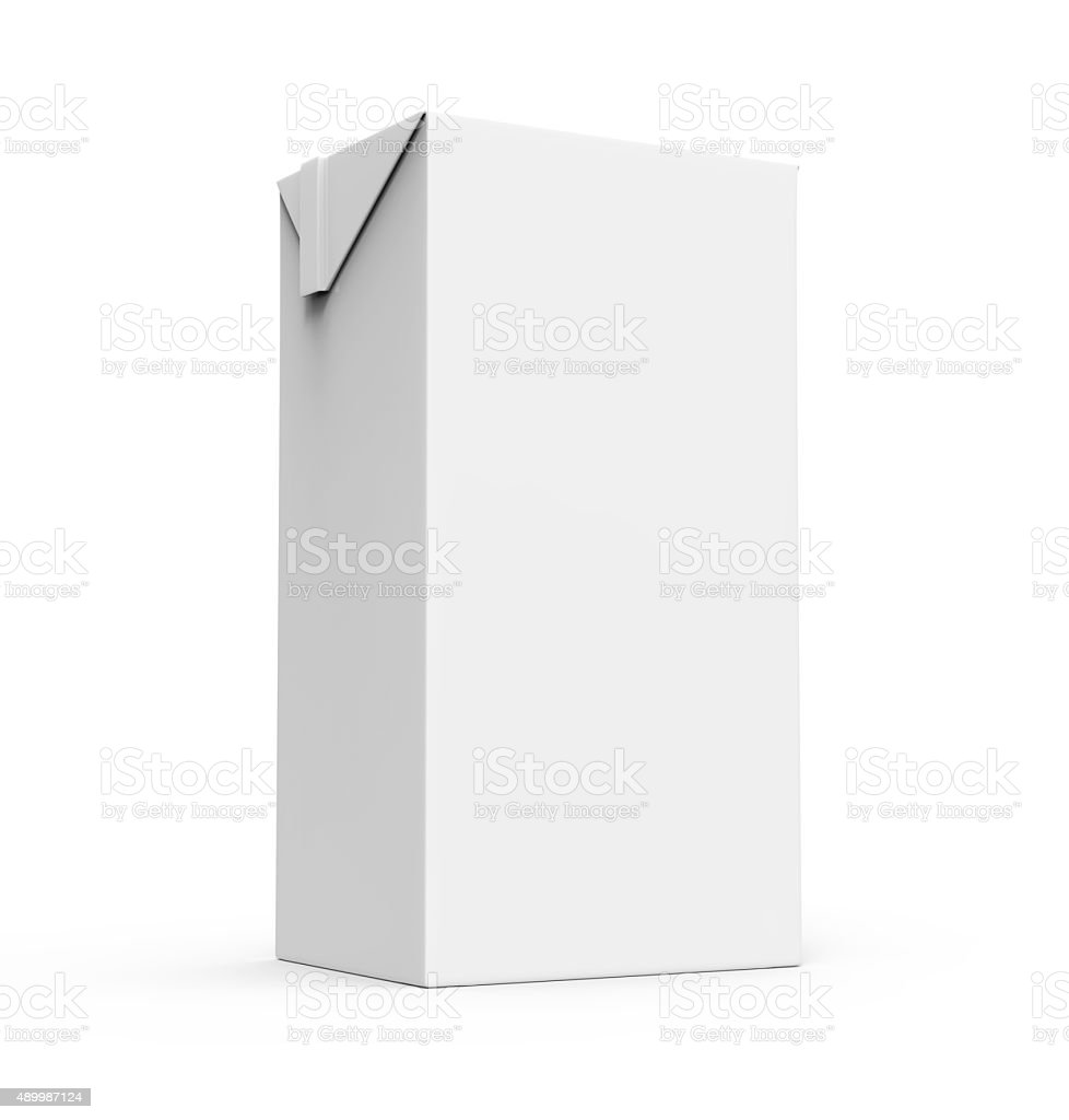 Juice, milk white carton box isolated stock photo