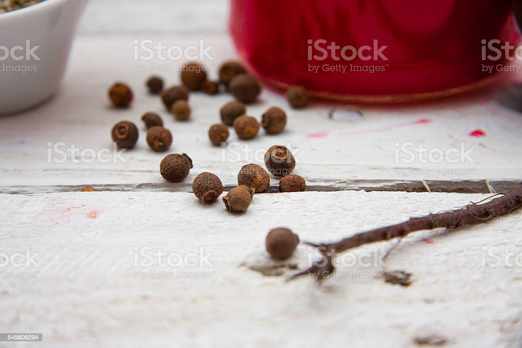 Juice with fruits and vegetables on a wooden table stock photo