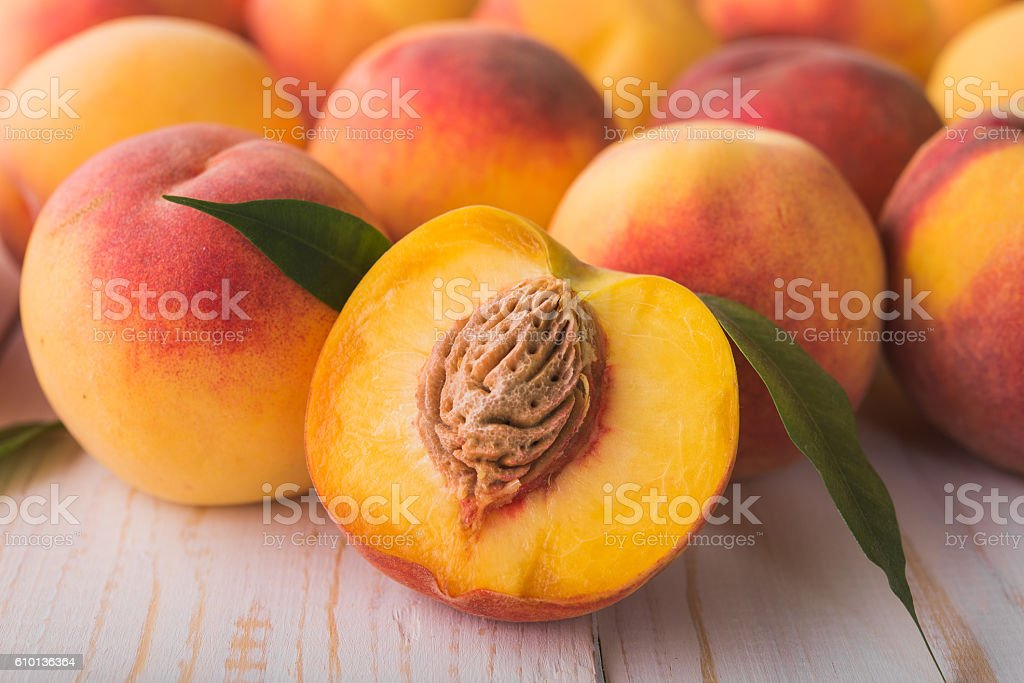 juicy and ripe peach fruits stock photo