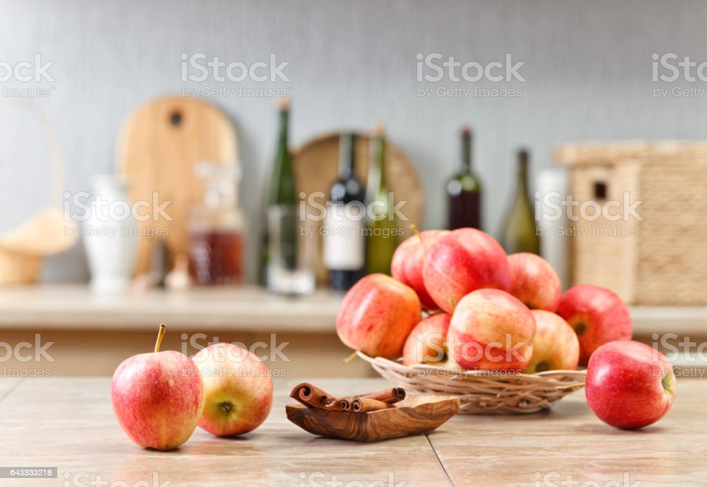 Juicy apples on a kitchen table stock photo