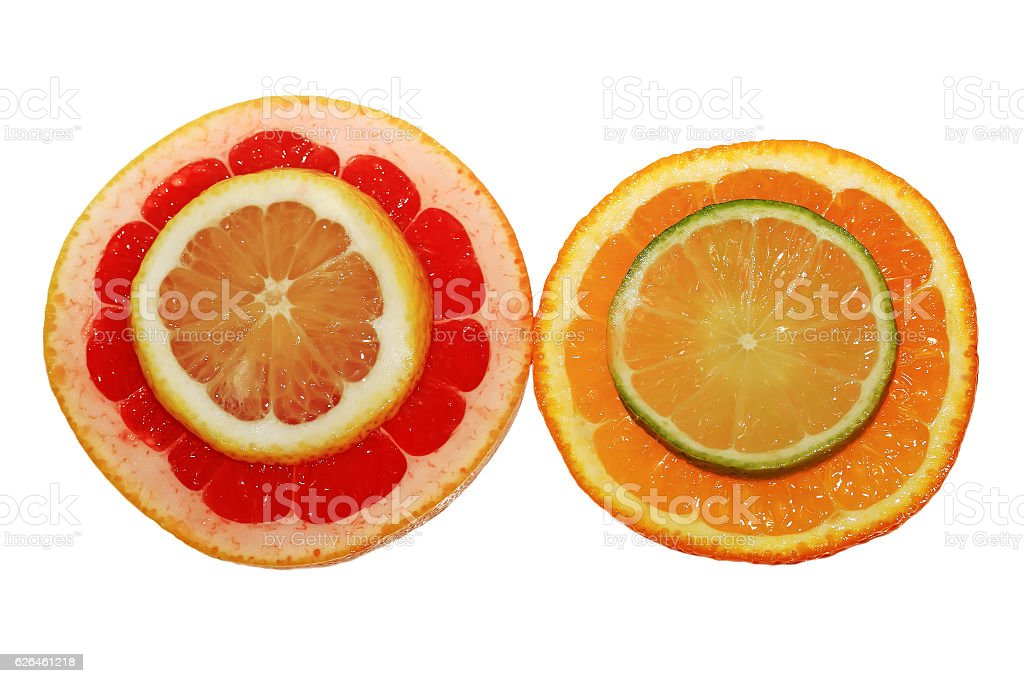 juicy citrus fruits are sliced on white background stock photo