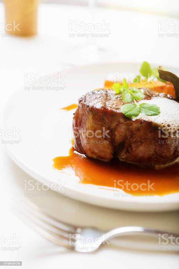 Juicy, delicious grilled fillet steak stock photo
