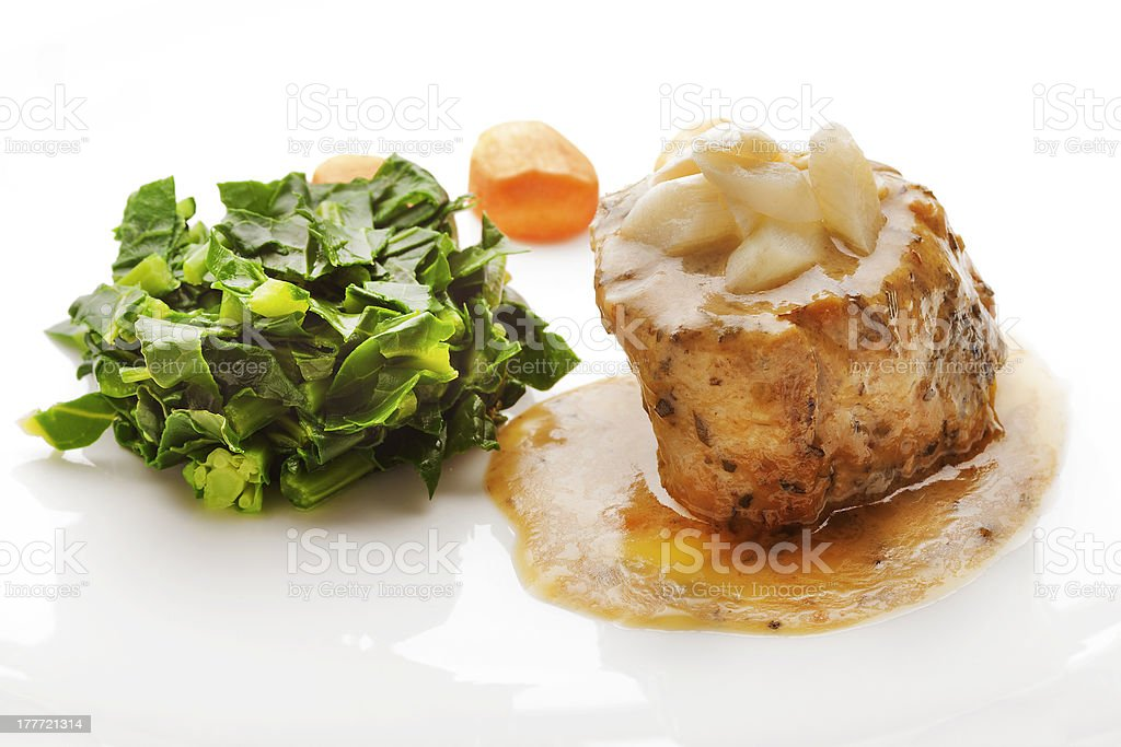 Juicy Fillet Mignon served with Sauce and Vegetables royalty-free stock photo