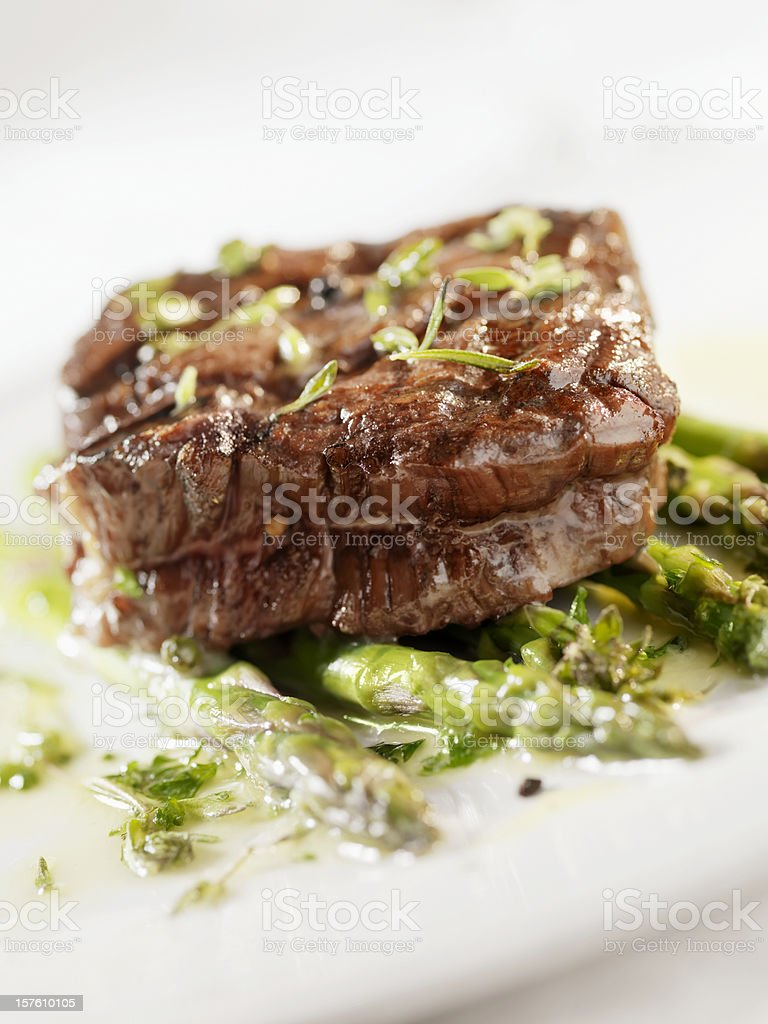 Juicy Fillet Steak with Asparagus royalty-free stock photo