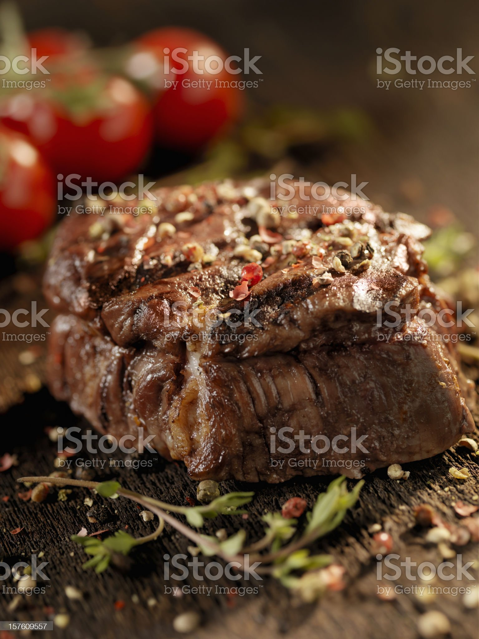 Juicy Fillet Steak with Fresh Herbs royalty-free stock photo