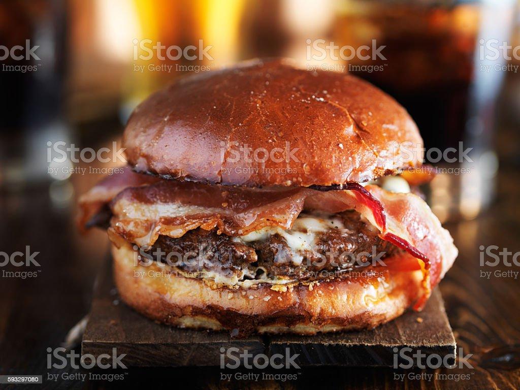 juicy gourmet cheeseburger stock photo