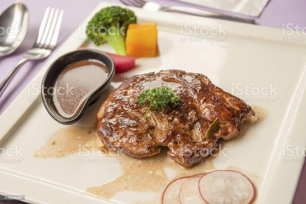 Juicy grilled beef steak royalty-free stock photo