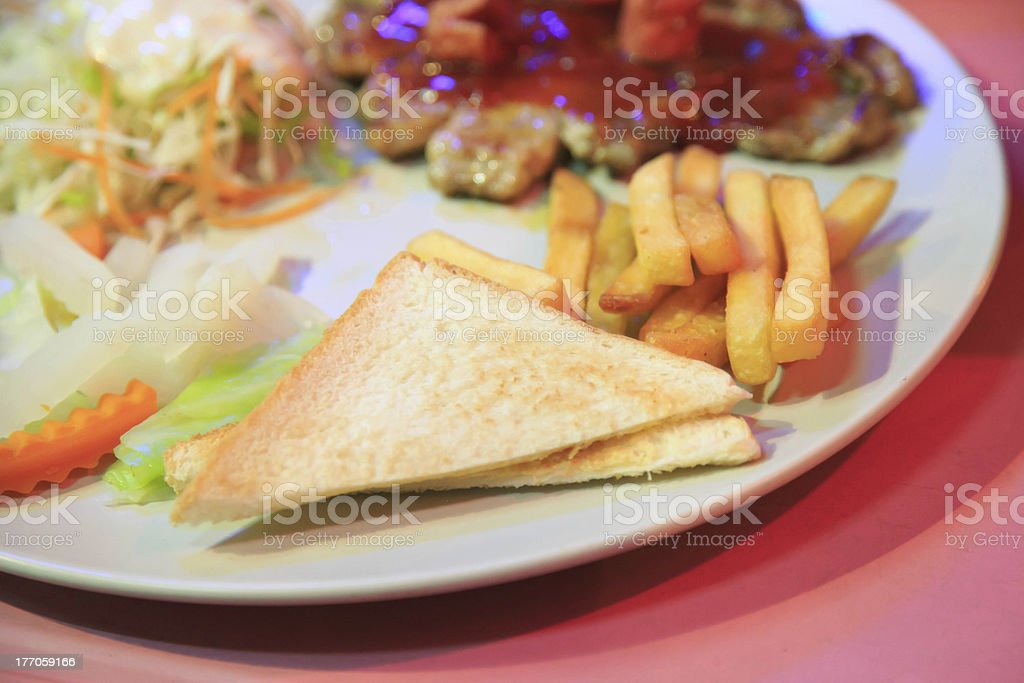 juicy meat steak and sausage royalty-free stock photo