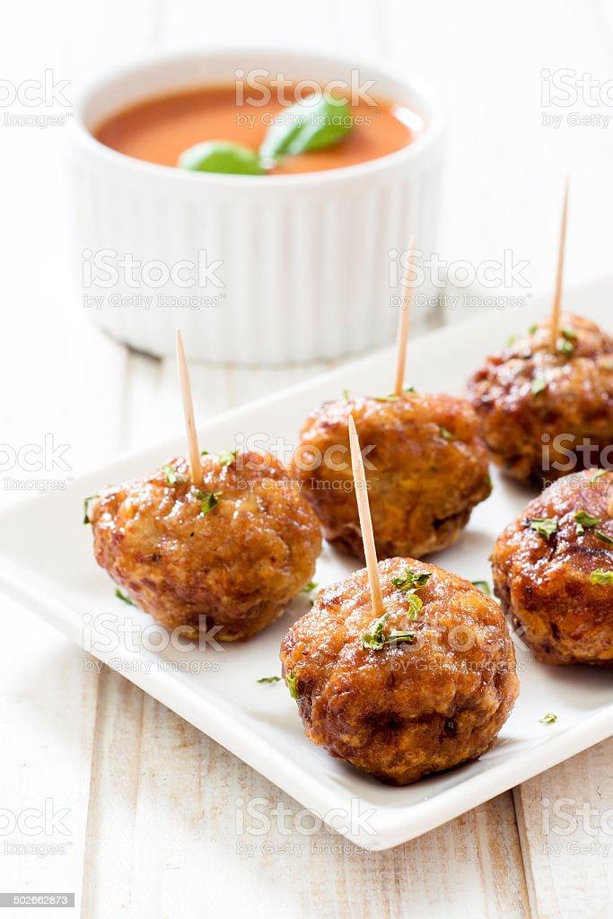 Juicy meatballs stock photo