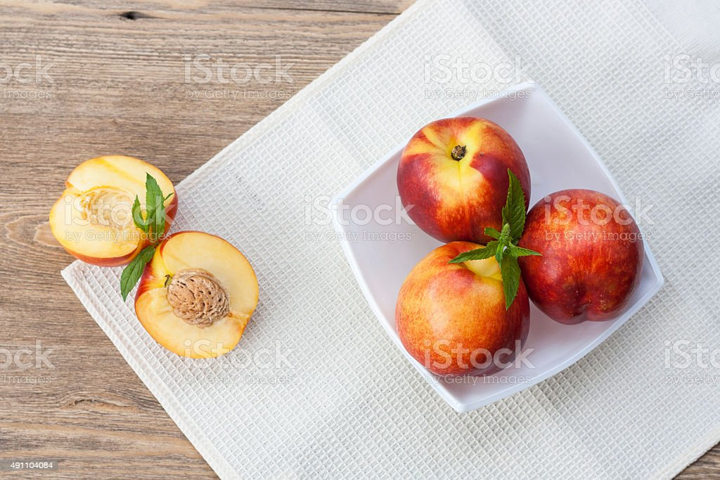 Juicy nectarines stock photo