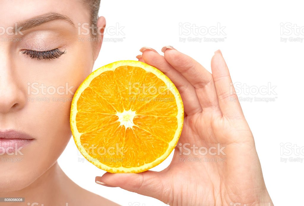 juicy orange and healthy lifestyle stock photo