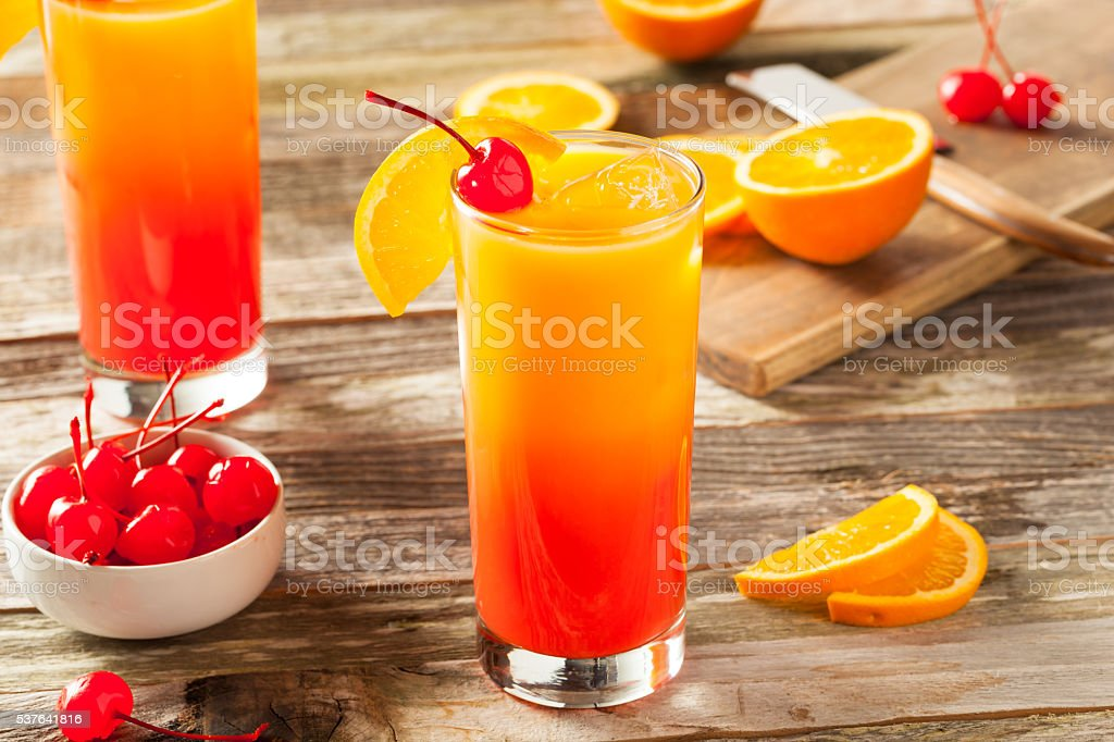 Juicy Orange and Red Tequila Sunrise stock photo