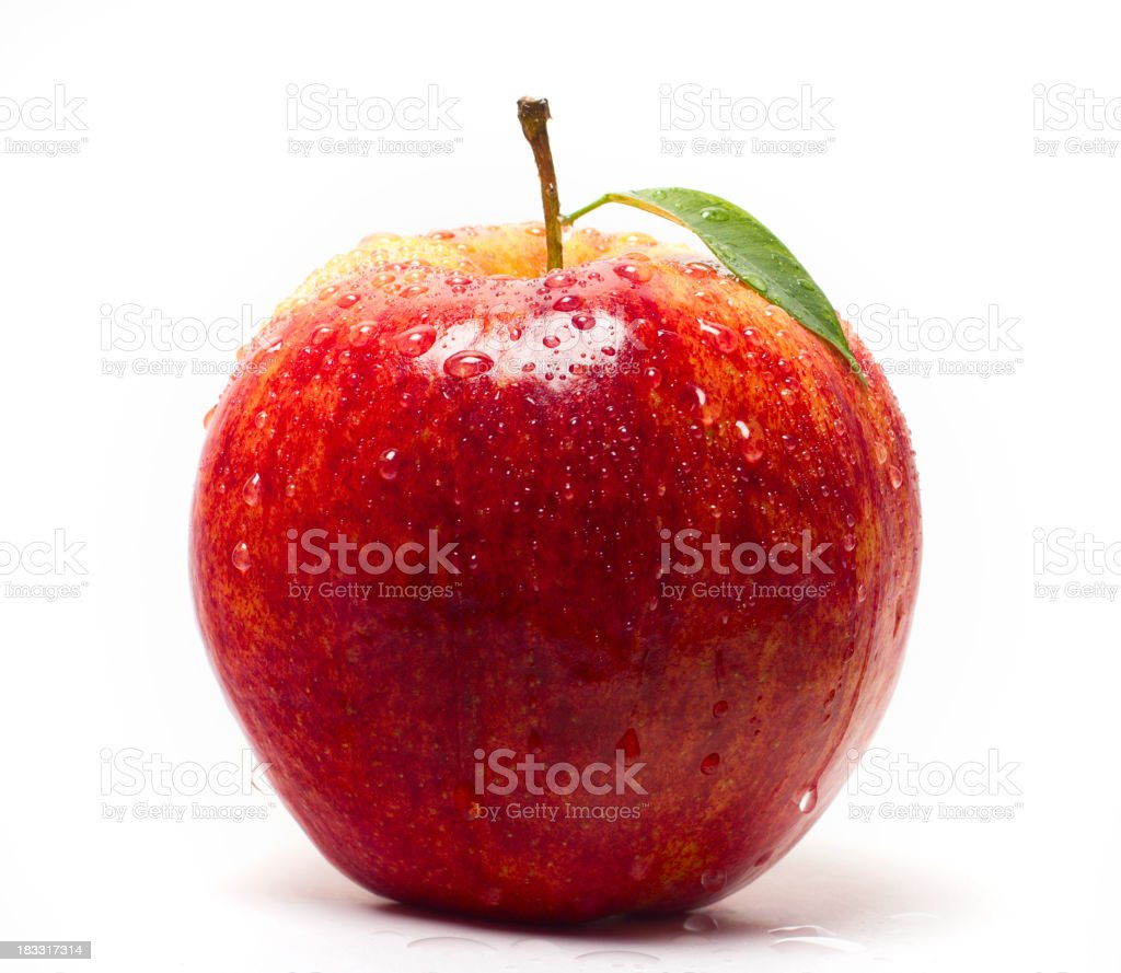 Juicy red apple against white background royalty-free stock photo