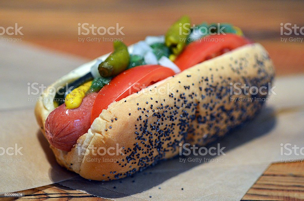 Juicy Red Hot Chicago Dog on Sesame Seed Bun stock photo