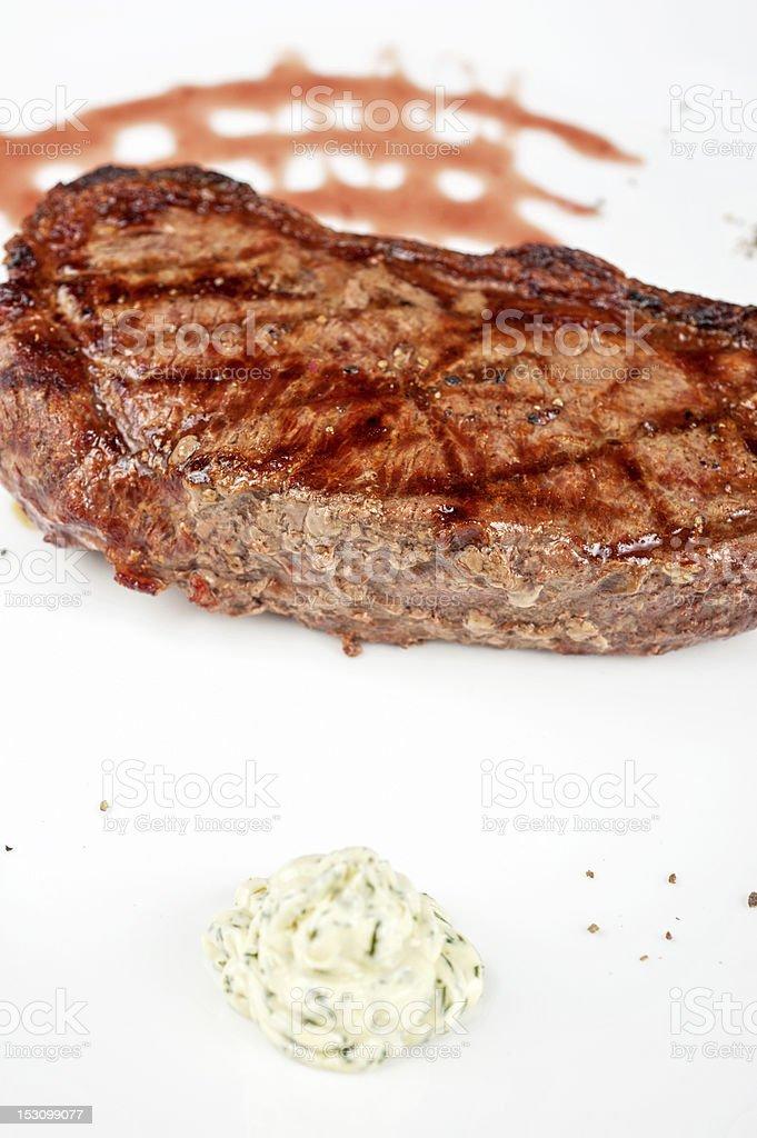 Juicy rib-eye beef steak royalty-free stock photo