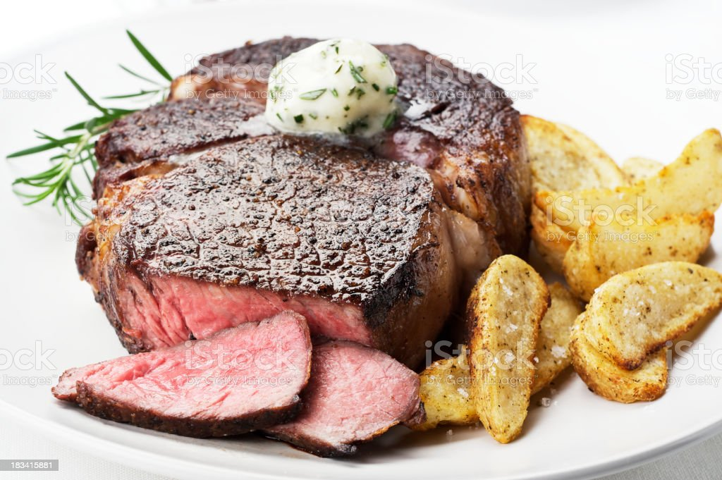 Juicy Ribeye Steak stock photo