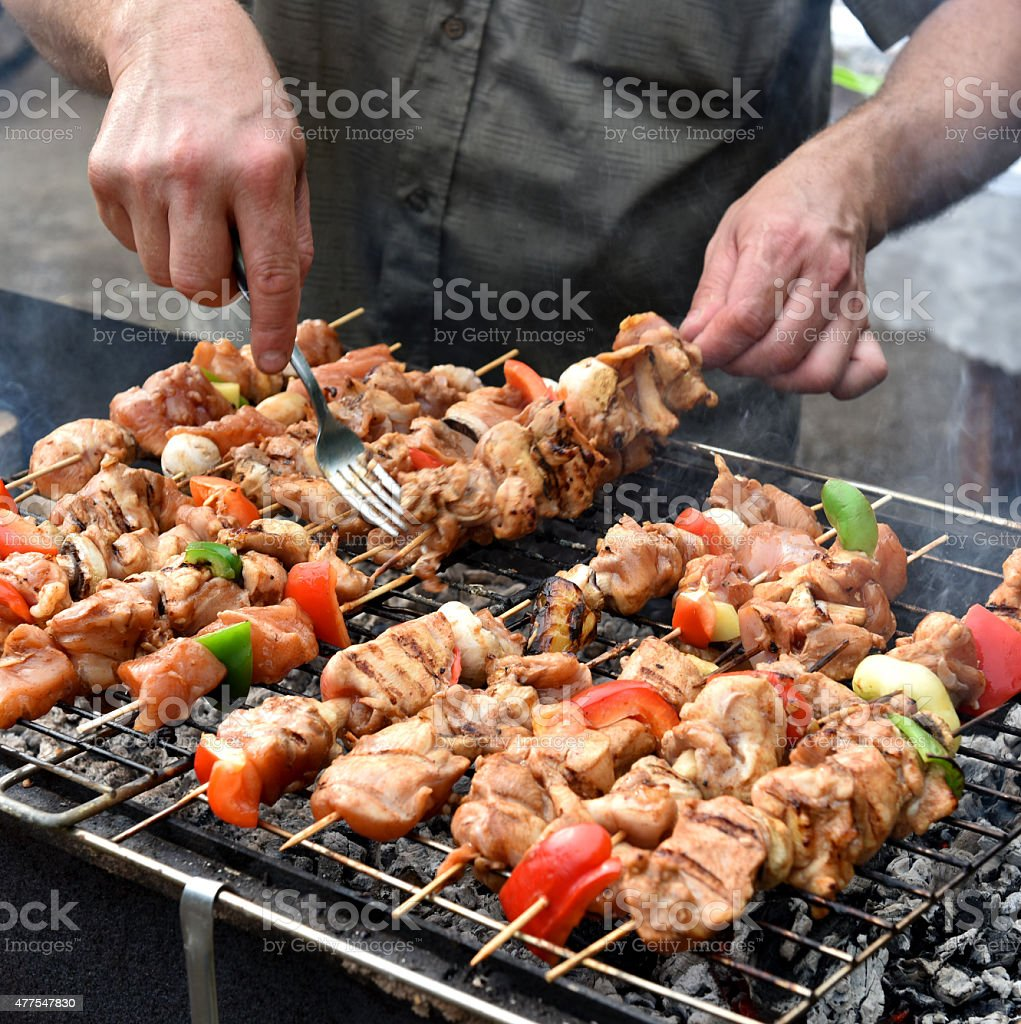 Juicy roasted kebabs stock photo