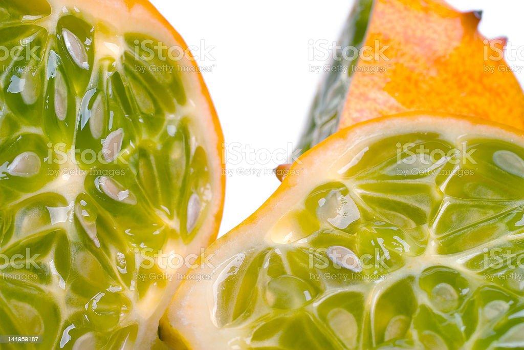 Juicy Sliced Horned Melon stock photo