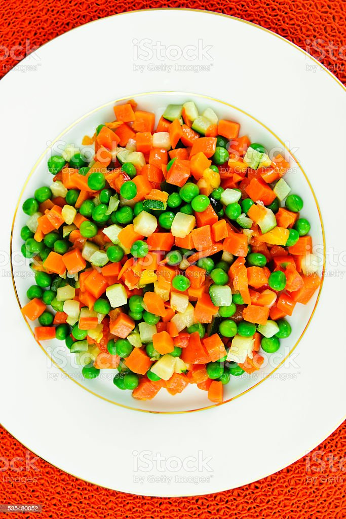 Juicy Vegetable Stew. Paprika, Peas and Carrots. Diet Food stock photo