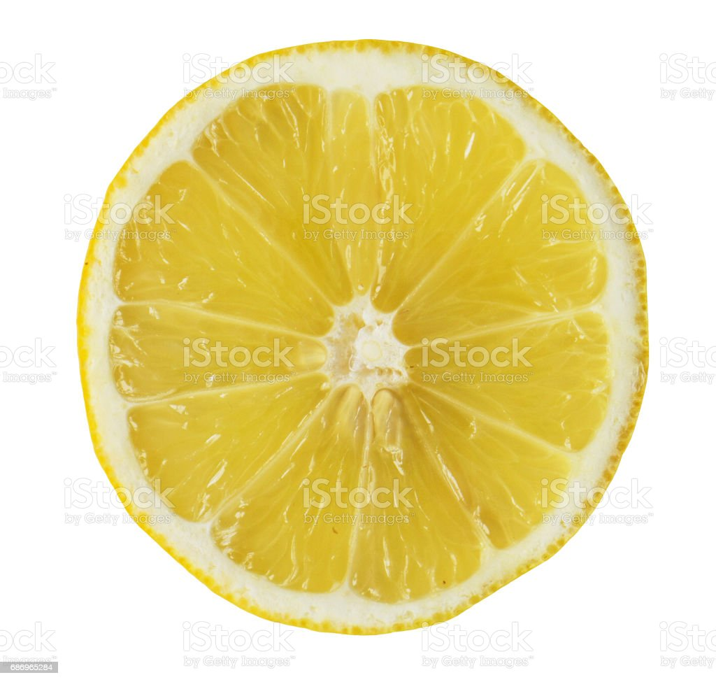 Juicy yellow slice of fresh lemon stock photo