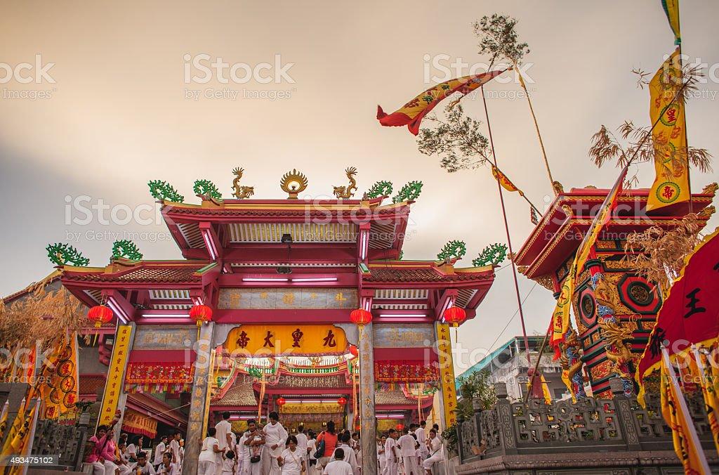 Juitui shrine Phuket vegetarian festival twilight stock photo