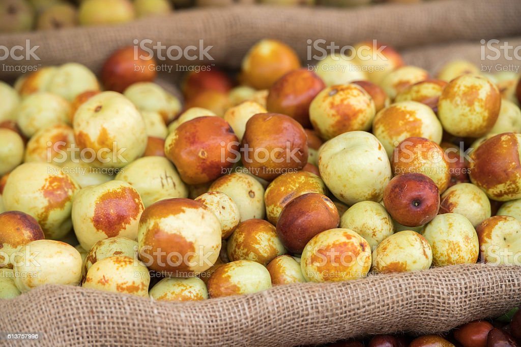 jujube fruit from Italy for sale at market stock photo