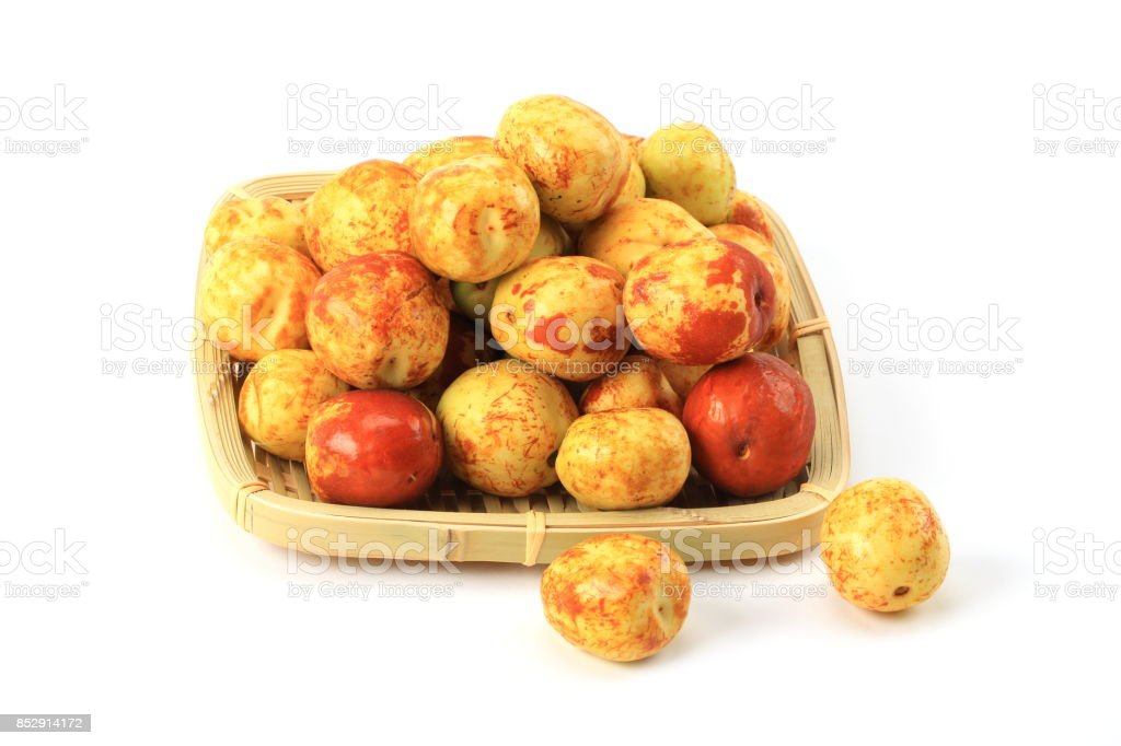 Jujube fruits on a white background stock photo