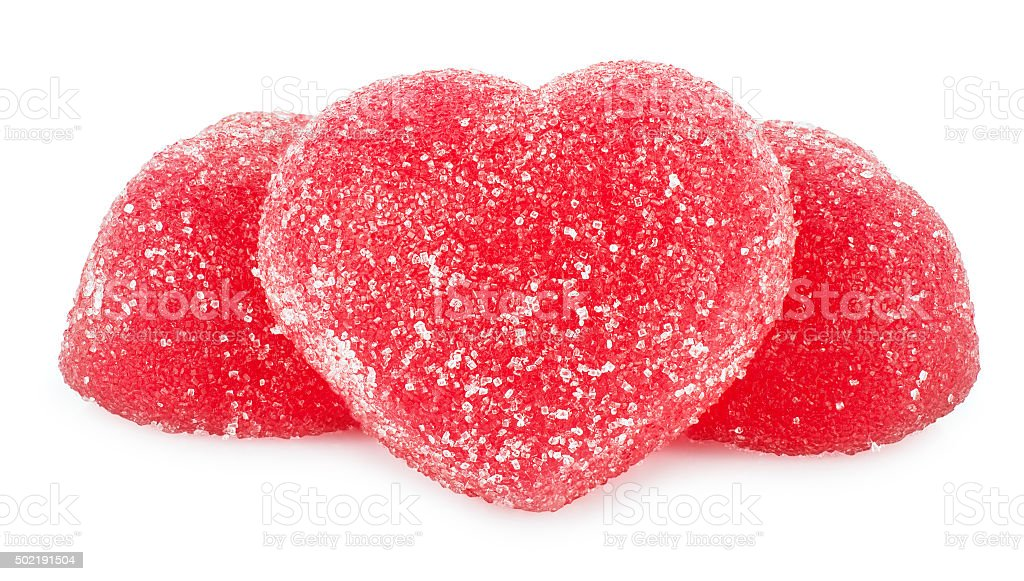 Jujube red jelly candies heart shape stock photo