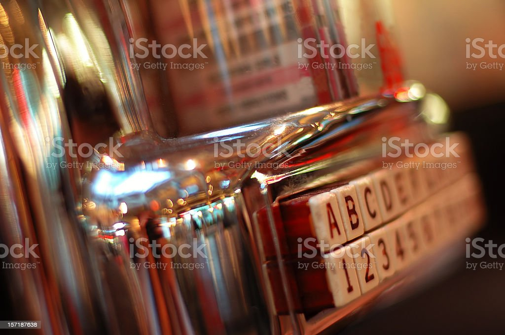 Jukebox on a blurred picture, vintage style stock photo