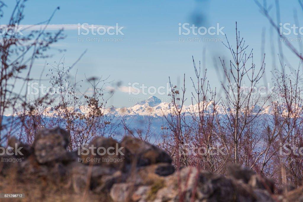 Julian alps and Triglav mount. stock photo