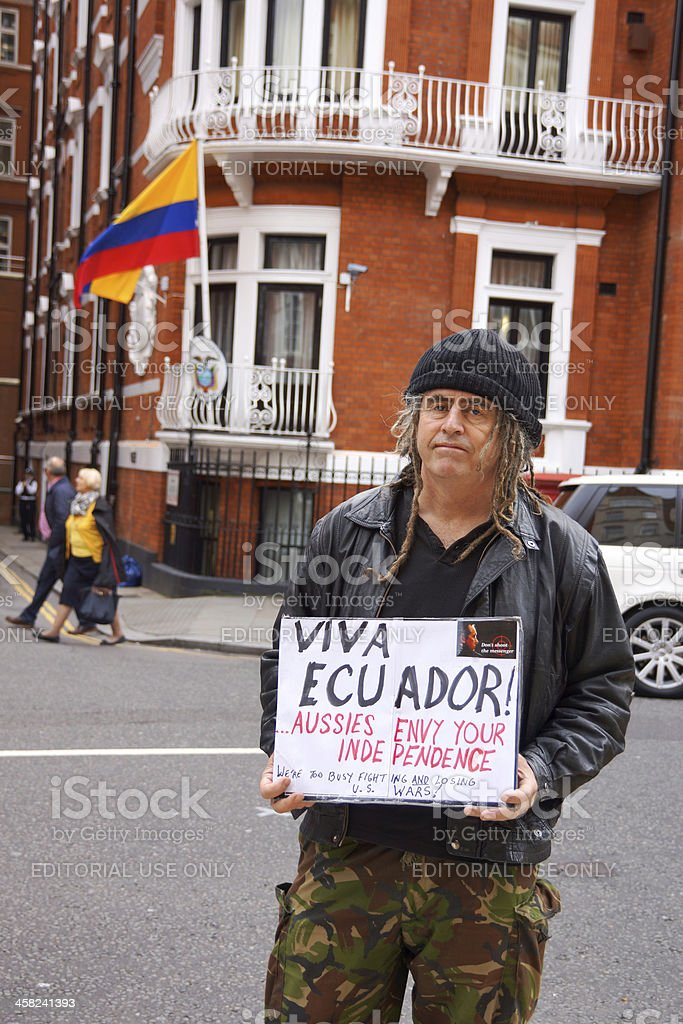 Julian Assange Protester in London stock photo